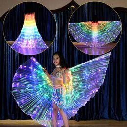 2020 niños llevaron alas Niñas coloridas luces LED Alas de danza del vientre Disfraz de mariposa para niños Danza del vientre oriental Accesorios de baile de rendimiento Niñas Capas rebajas niños llevaron alas