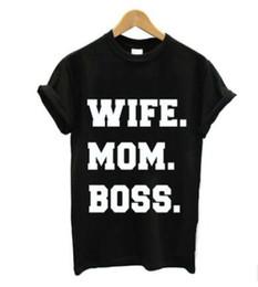 Camisetas para las mamás online-Las mujeres del diseñador del verano camiseta ESPOSA MOM BOSS letras impresas camisetas manga corta Casual Tops camisetas