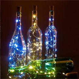 2020 corchos de vidrio 20LEDs Light Cork Cork Glass Wine LED Cadena de cobre Fiesta de Navidad Boda Decoración de vacaciones Luces de cadena rebajas corchos de vidrio