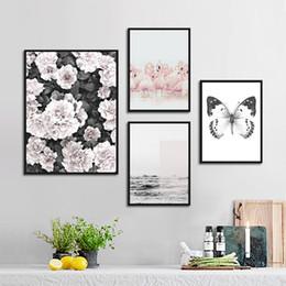 art abstrait de toile de papillon Promotion Abstrait Noir et Blanc Papillon Pivoine Fleur Toile Art Peinture Nordique Paysage Décoration Posters Mur Art Imprimer Image