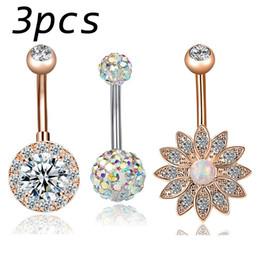 Piercing de opala on-line-3 Pçs / set Opala de Flor de Lótus Piercing No Umbigo Barriga Piercing No Umbigo Brinco de Ouro Piercing No V ...