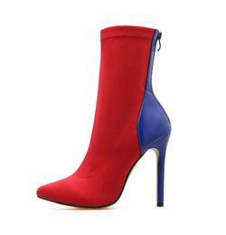 Medias de punto online-Las mujeres atractivas de tacón alto de la señora Botas de mitad de la pantorrilla Botas de calcetines del dedo del pie puntiagudo Botas de estiramiento suave Moda tacones altos Zapatos Stiletto Punk bombas