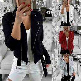 Giacca sottile da donna sexy Cappotti Zip Up Biker Casual Flight Top Cappotto Outwear Giacca corta tinta unita risvolto UK cheap jackets uk da giacche uk fornitori