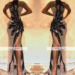 Appliques de perles en Ligne-2019 Sexy Halter Dentelle Perles Sirène De Bal Robes Haut Cou Avant Split Noir Applique Robes De Soirée Occasion Spéciale Porter BC0493