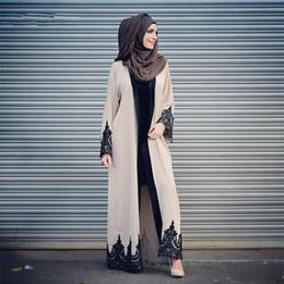 Appliques abito marocchino online-Elegante abito da sera musulmano abito marocchino caftano 2019 Robe De Soiree Dubai abito da applique in pizzo abito maniche lunghe abiti da festa delle donne