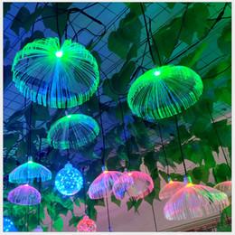 sinais de piscina Desconto Outdoor LED Jellyfish Fibra Óptica penduradas luz luzes coloridas Sala Restaurant Início Wedding Party Decor IP66 impermeável 10pcs