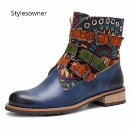 4f64348e5 Stylesowner Alta Qualidade Quente de Couro De Vaca Mulher Ankle Boots  Primavera Outono Popular Retro Behemian Botas Fivela Correia Estilo Étnico  desconto ...