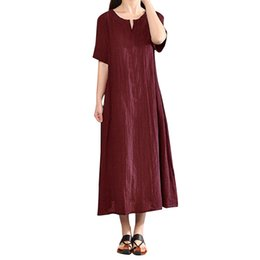 plus size women bohemia dresses Promo Codes - Women Plus Size Sundress Bohemia Casual Solid V-Neck Short Sleeve Cotton Linen Dress Retro Collar Casual Vestidos De Verano#30