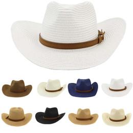 2019 cappelli di paglia ricamati Estate cappelli per le donne cappello della protezione di uomini di paglia cowboy cowgirl largo selvaggio Western Beach Caps Brim Chapeu Feminino Sombrero Mujer Verano