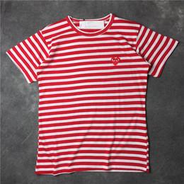 liebesherzhemd Rabatt 2018 sommer Neue Spiel CDG gestreiften vetements T Baumwolle Kurzarm Atmungsaktiv Männer Frauen Rot liebe herz t-shirt Casual Streetwear T-shirts