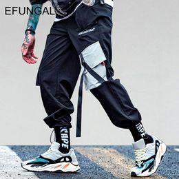 Pantalones harem hip hop de carga online-EFUNGAL Bolsillos Pantalones de carga Hombres Mujeres Casual Harem Joggers Baggy Harajuku Streetwear Hip Hop Moda Swag Pantalones de chándal FD103