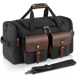 2019 verrückte taschen Canvas Reisetaschen Handgepäck Strap Retro Crazy Horse Ledertasche Hohe Kapazität Koffer Business Bag Mehrere Taschen günstig verrückte taschen