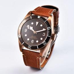 d668ca418a8 41mm Mens Relógio Automático de Bronze Revestido SS Caso Café Esterilizado Dial  Relógios Mecânicos Miyota 8215 Move t Clock