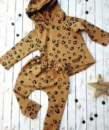 chapéus bola de futebol Desconto Infant Leopard roupa do bebê da menina com capuz Tops + Leggings Pants Roupas Treino