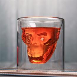 cabeza de cráneo vodka vasos de chupito Rebajas 4 unids Skull Head Shot Glass Cup Beer Beer Wine Glass Mug Whisky Vodka Taza de Café 25 ml 75 ml 150 ml Botella de regalo