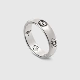 Bandas anulares on-line-Nova chegada S925 anel de prata pura Anel de Banda de Charme com palavras para mulheres Estreitas e homem largo Moda Jóias Presente Gota de Envio PS6496