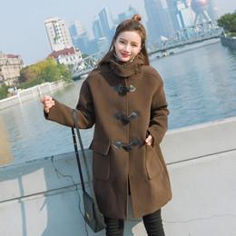 beiläufiger frauenwollmantel Rabatt Lässige Mode warme Frauen lange Winter Wollmischung Mantel lose lange Wollmantel und Jacke solide Taschen Horn Schnalle Oberbekleidung
