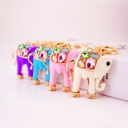 white resin elephants Coupons - 1 PIC 6.3*5.5CM Cute Creative Resin Cartoon Elephant Car keychain Lady Bag Accessory Metal Hanging Key Chain