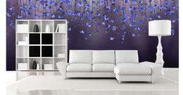 3d настенная роспись Фиолетовый цветок персика росписи 8D настенная роспись для спальни от