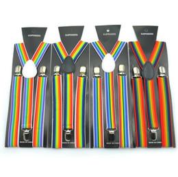 Bretelle arcobaleno online-2.5X100CM banda dell'arcobaleno cinghie donne / uomo di Y-back per adulti bretella Clip-on Bretelle elastiche regolabili Cinture Bretelle a righe GGA2859