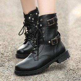motorcycle style boots women Coupons - 2019 New Buckle Winter Motorcycle Boots Women British Style Ankle Boots Gothic Punk Low Heel ankle Boot Women Shoe Plus Size 42