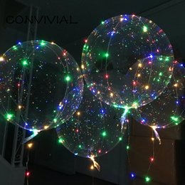 outdoor decorations for birthday party Coupons - Bobo Balloon LED Flashing with 70cm Pole 3M String Balloon Transparent Luminous Lighting Up Balloons For Birthday Wedding Home Party Decor