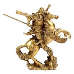 Estatuas antiguas online-Chino antiguo héroe Guan Gong Guan Yu monta en caballo * estatua de bronce