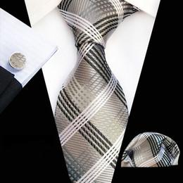 2019 conjunto de lenços cufflinks Homens de seda Gravata Set para Homens Ternos Lenço Abotoaduras Gravatas Laços para Homens Vestidos de Casamento Corbatas Verifica Mantas Laços
