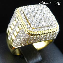 2020 anelli di nozze di ghiaccio Personalità HIP HOP Wedding Rings Bling fuori ghiacciato Piazza anello di cristallo di colore dell'oro di acciaio inox per Gioielli da uomo formato degli Stati Uniti 7-12 anelli di nozze di ghiaccio economici