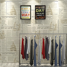 shop country kitchen Coupons - Newspaper wallpaper roll English letters retro nostalgic fashion shop decoration hairdressing clothing store study old newspaper wall cover