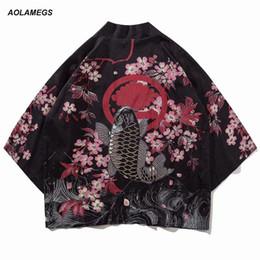 Argentina Aolamegs Hombres Camisa Kimono Estilo Chino Pescado Impreso Camisa Para Hombre Harajuku Algodón Puntada Abierta Moda Outwear Primavera Streetwear cheap xl mens kimonos Suministro