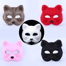 Tilki Kürk Maskesi Kadınlar Seksi Masquerade Parti Maskesi Moda Fox Yarım Hayvan Maskesi Fox Cosplay Dans Maskeleri Peluş Oyuncaklar DH0126 cheap animal masquerade masks nereden hayvan maskeli maskeleri tedarikçiler