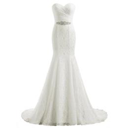 Canada Dentelle Robe de mariée sirène de mariée longue Traîne Boho plage Robes de mariée avec cristal perlé ceinture Sash Taille Plus Robe de Casamento cheap plus bridal belt Offre