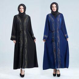 abaya kaftan stil Rabatt Yiwa Frauen Muslimischen Stil V Kragen Kleid Delicate Diamond Elegantes Kleid Party Abaya Frauen Türkei Islam Gebet Kaftan Marocain Kleider