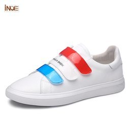 INOE 2019 New style genuine leather women Spring sneakers hit-colors female  driving car autumn shoes flats Hook   Loop Loafers shoes hits promotion df3992928d52