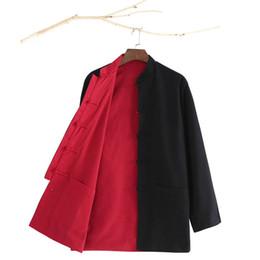 Costume de soie rouge en Ligne-Costume de Tang Costume Chinois Haut Haut Kung Fu Uniforme Outfit Vêtements Vêtements À Manches Longues Deux Côté Noir Hommes Rouges