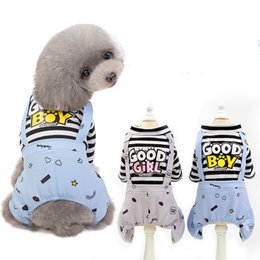 cucciolo per le ragazze Sconti Lettera di vestiti del cane da compagnia BUONA RAGAZZA DEL RAGAZZO Tute a strisce Piccolo cane Pagliaccetti Tuta da cucciolo Estate Pet Supplies Cappotti a righe FFA2175
