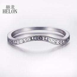 HELON Reale 925 Sterling Silver Antique Classic Anniversary Wedding Bands Anello Impostazione Art Deco donne alla moda gioielleria raffinata da