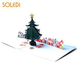 Cartões de papai noel on-line-3D Card Greeting Cards 3D Paper Santa Claus Christmas Souvenirs Party