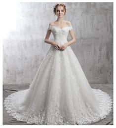 d4b0bd7a8 vestidos blancos de la boda colas largas Rebajas Backless Beach Wedding  Dresses Hombro Delgado Tamaño Flor