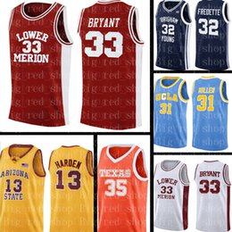 kobe ​​bas hauts Promotion Lower Merion College Jersey TOP 33 Kobe Bryant Basketball Maillots Université Hommes NCAA gros Taille Jersey Cheap S-XXL