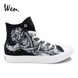 90d5a31a0ef Chinese Wen Original Design Outer Space Astronaut Hand Painted Shoes Canvas  Sneakers Women Laced Flats High