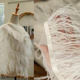 Tecido de avestruz on-line-Cabelo de avestruz criativo pena longo rendas Acessórios máscara illustion têxteis lar diy tecido vestido de noiva gaze tecido tweed festa A440