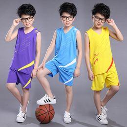 Basket-ball en jersey à col en v en Ligne-Ensemble complet de survêtement pour enfants au détail garçons maillots de basket-ball vintage maillots 2pcs mis en costume de football football survêtement de concepteur tenues pour enfants