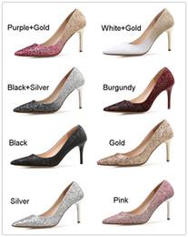 Canada Pas cher 2019 Mode Designer Paillettes Femmes Chaussures De Mariée À Talons Hauts 10cm Bout Pointu Pompes De Mariée Robe De Mariée Chaussures Petite Taille US4.5 Eur34 cheap cheap sequined heels Offre