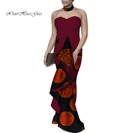 african wax women dresses Promo Codes - Party Vestidos Traditional African Clothing Off Shoulder Wedding Dress for Women African Wax Print Long Fishtail Dresses WY3374