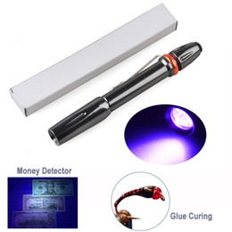 led pocket pen Promo Codes - Mini LED Flashlight Pen UV 395nm Pocket Clip Strong Ultraviolet Light for Cured Glue Money Detector