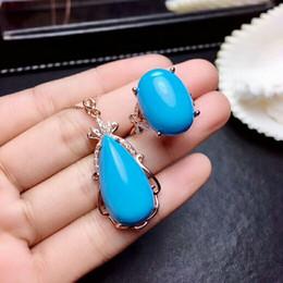 Conjunto de turquesa prata 925 on-line-[MeiBaPJ Limpo Natural Turquoise Gemstone moda conjunto de jóias para mulheres reais prata esterlina 925 Belas Festa Charme Jóias