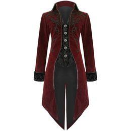 2019 casaco casual Laamei 2.019 homens Gothic Vintage casaco longo retro Outono fresco Brasão Costume Trench Steampunk Tailcoat Brasão Botão casaco casual barato