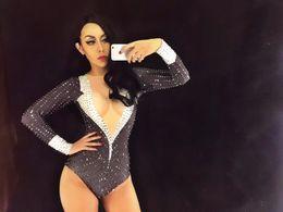 Trajes de baile Negro Sexy Cristales Chispeantes Traje Discoteca Fiesta Bailarín de DJ Cantante Desgaste Desgaste Traje Mujeres Bling Traje desde fabricantes